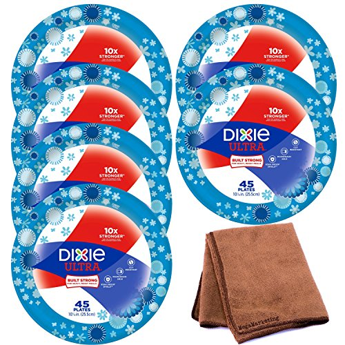 Dixie Ultra Disposable Paper Plates, 10 1/16 Inch, 45 Count, 6-Pack with Cleaning Cloth