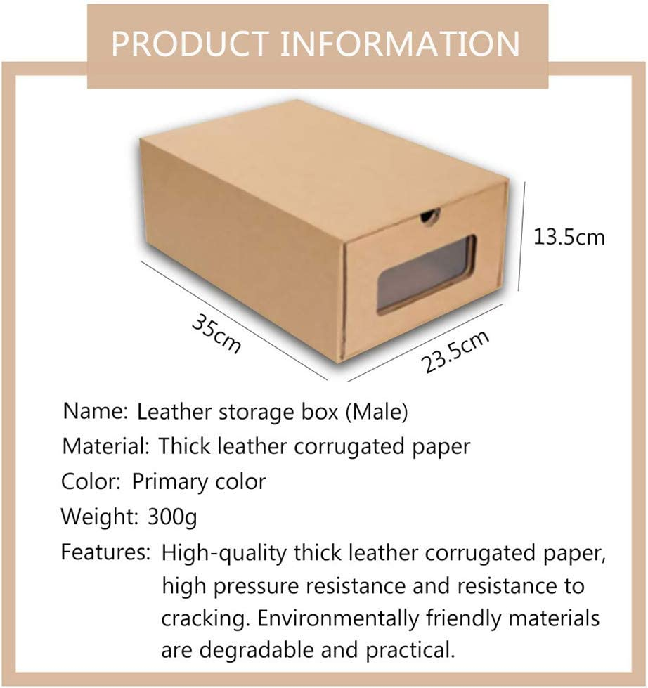 Khaki for High Heel shamoluotuo 1 Pack Sneaker Boxes Stackable Thickened Kraft Cardboard Shoe Box Perspective Foldable Organizer Cube Storage Bin Receptacle Box Shoe Racks for Closets Entryway