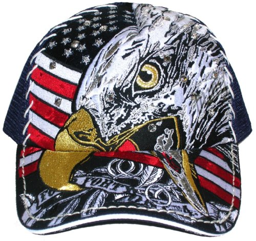 American Eagle Cap Hat with Swarovski Stone (One Size)