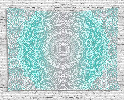 Ambesonne Grey and Turquoise Tapestry, Primitive Ancient Essence and Universe Harmony Mandala Ombre Art, Wall Hanging for Bedroom Living Room Dorm, 60 W X 40 L Inches, Blue -