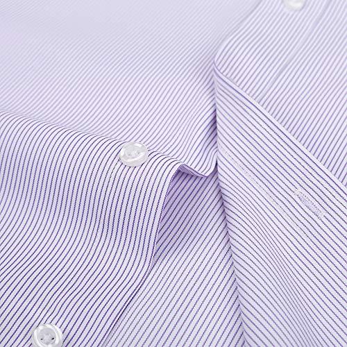 4d8c23a977 DOKKIA Men's Casual Long Sleeve Vertical Striped Slim Fit Dress Shirts  (Purple White, Large