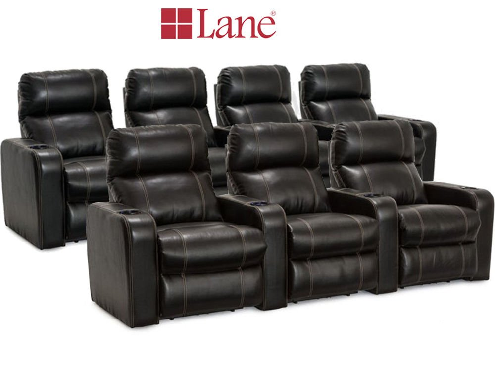 Lane Dynasty Black Bonded Leather Home Theater Seating - 1 Row of 3, 1 Row of 4 (7 Recliners) - Power Recline