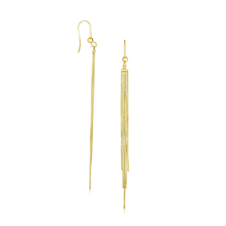 Jewels By Lux 14K Yellow Gold Multiple Asymmetrical Chain Drop Earrings