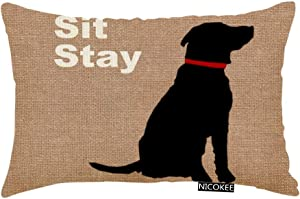 Nicokee Throw Pillow Cover Sit Stay Words Dog Decorative Pillow Case Home Decor 20x12 Inches Pillowcase