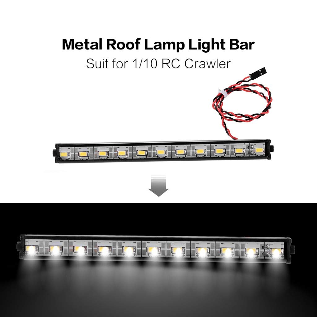Amazon.com: LtrottedJ Metal Roof Lamp LED 150mm Light Bar for 1/10 Traxxas HSP Redcat SCX10 D90: Toys & Games