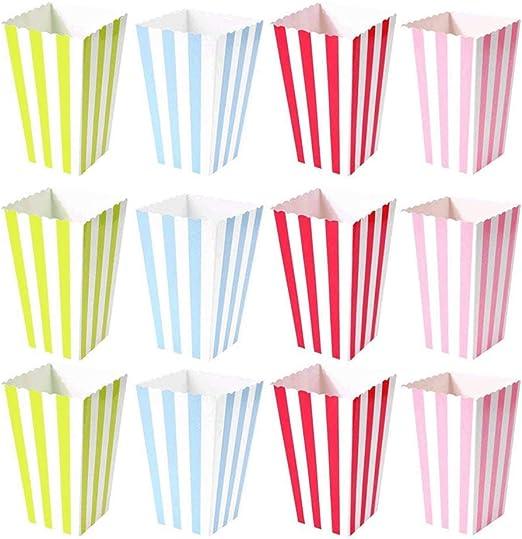 heliltd 48 Cajas de Palomitas de maíz con Rayas de Colores, Caja ...