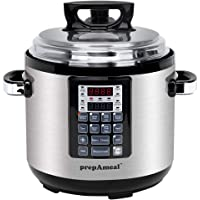 prepAmeal 8-IN-1 Electric Pressure Cooker 6QT Multi-Use Programmable Instant Cooker Electric Pressure Pot with 16 Smart Programs, Slow Cooker, Rice Cooker, Steamer, Sauté, Yogurt Maker and Warmer