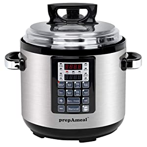 prepAmeal 6QT 11-IN-1 ( 3 Speeds Options ) Pressure Cooker Multi-Use Programmable Instant Cooker Pressure Pot with 16 Smart Programs, Slow Cooker, Rice Cooker, Steamer, Sauté, Yogurt Maker, Warmer, Hotpot (6 Quart)