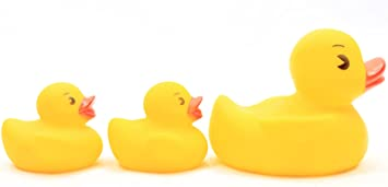 ~1 Large /& 3 Small Yellow Ducks NEW Rubber Ducky Bath Toy Party Favor Set of 3