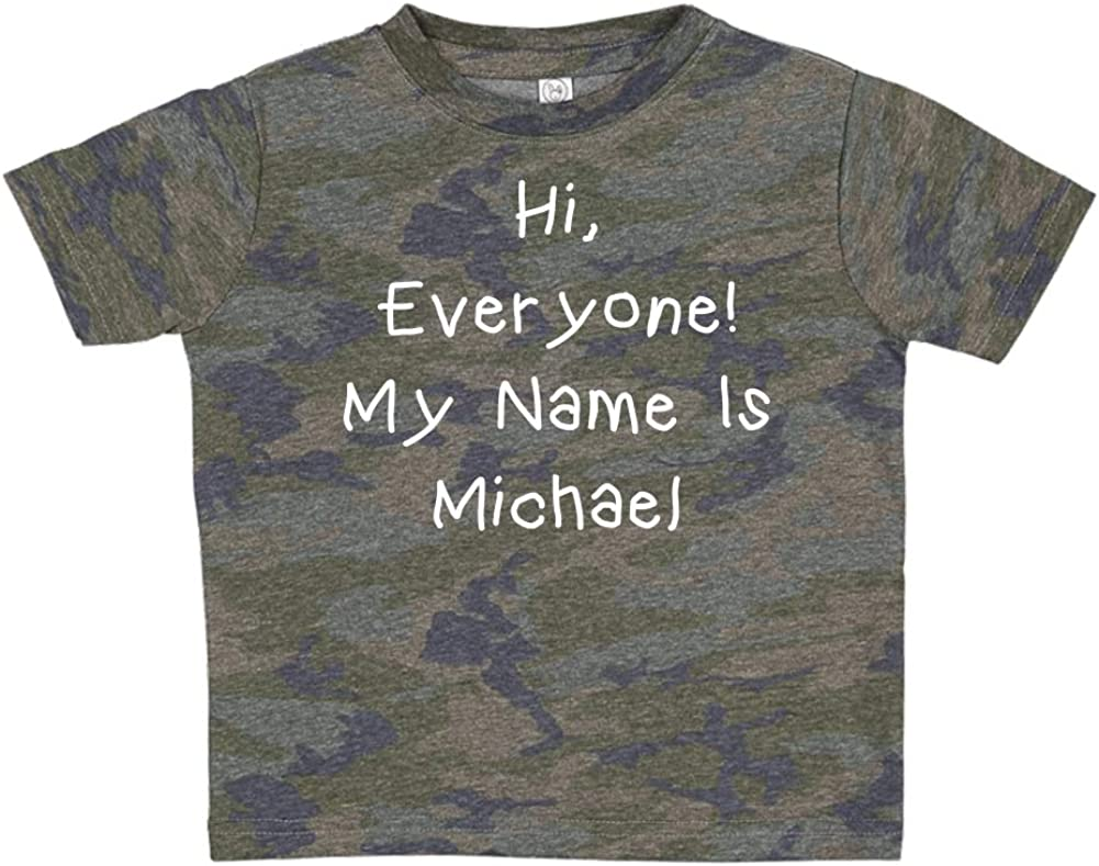 Hi Personalized Name Toddler//Kids Short Sleeve T-Shirt Everyone My Name is Michael