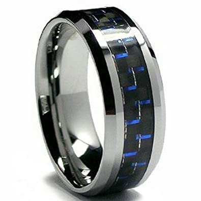 blue black carbon fiber tungsten carbide mens womens wedding ring - Carbon Fiber Wedding Rings