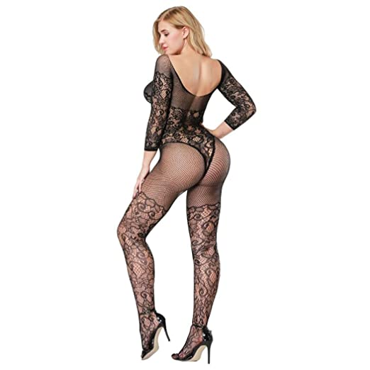 db86c950f44 Ruhiku GW Womens Sexy Lingerie Crotchless Fishnet Bodystocking Tights (Free  Size