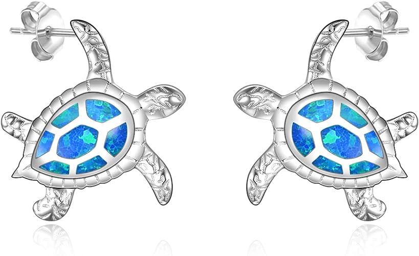 Cute Little Tortoise Turtle Dangle Drop Earrings Stainless Steel Hooks