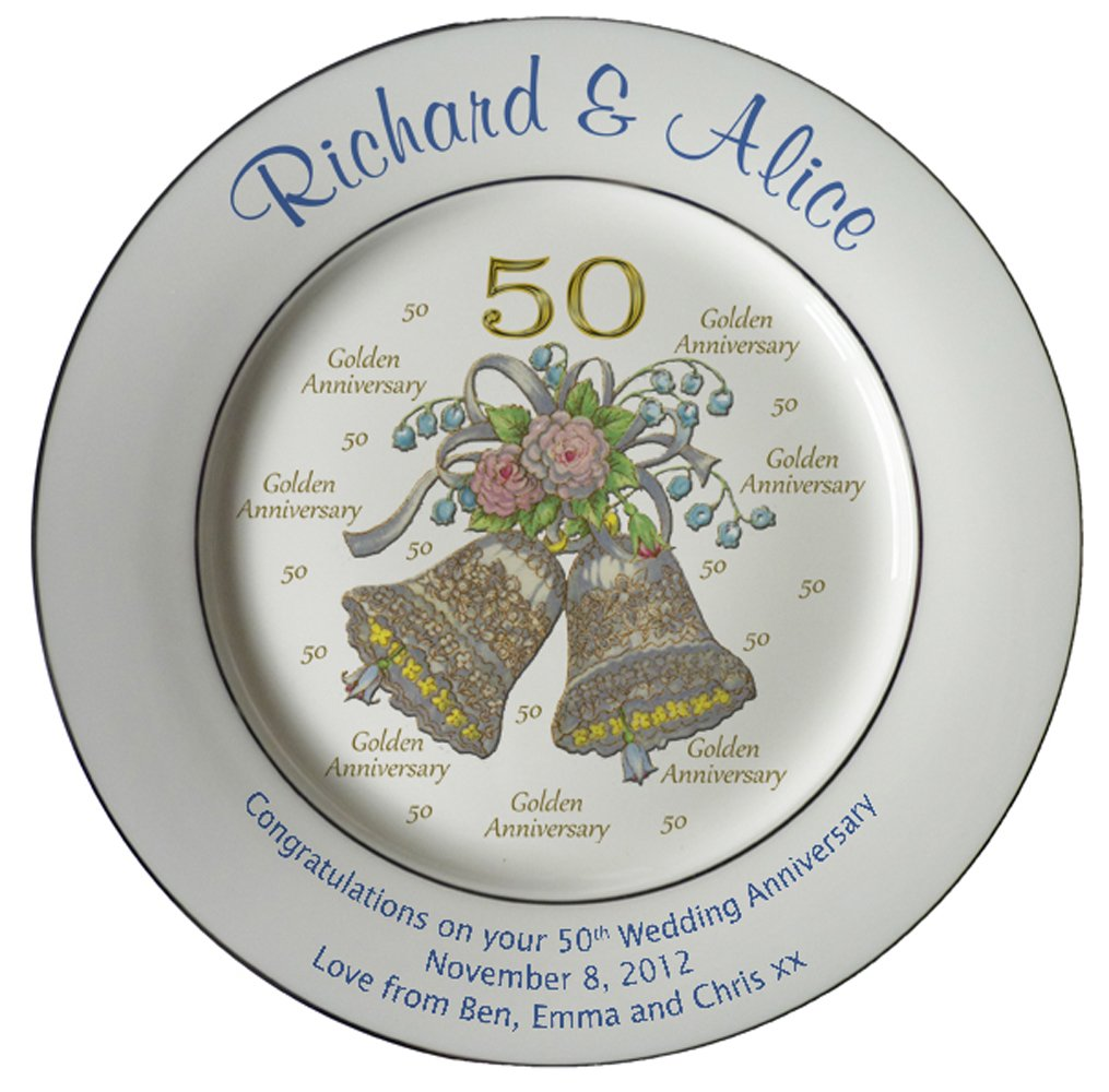 Heritage Pottery Personalized Bone China Commemorative Plate for A 50th Wedding Anniversary - Wedding Bells Design with 2 Gold Bands by Heritage Pottery