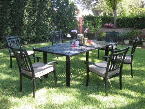 CBM Outdoor Cast Aluminum Patio Furniture 7 Piece Dining Set A CBM1290