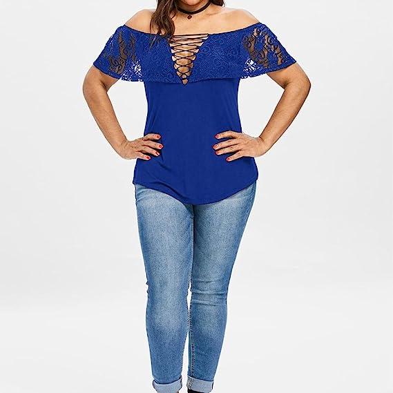 Top Suelto Mujer, Covermason Mujeres Solid Lace Off Shoulder Tops Manga Corta Pullover Camiseta Blusa: Amazon.es: Ropa y accesorios