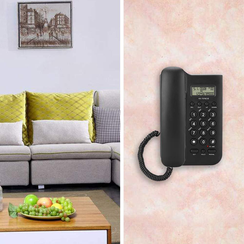 Oficina Eboxer Tel/éfono Fijo con Cable,Tel/éfono Fijo de Pared con Sistema Dual FSK//DTMF para Casa Blanco Hotel Negro//Blanco