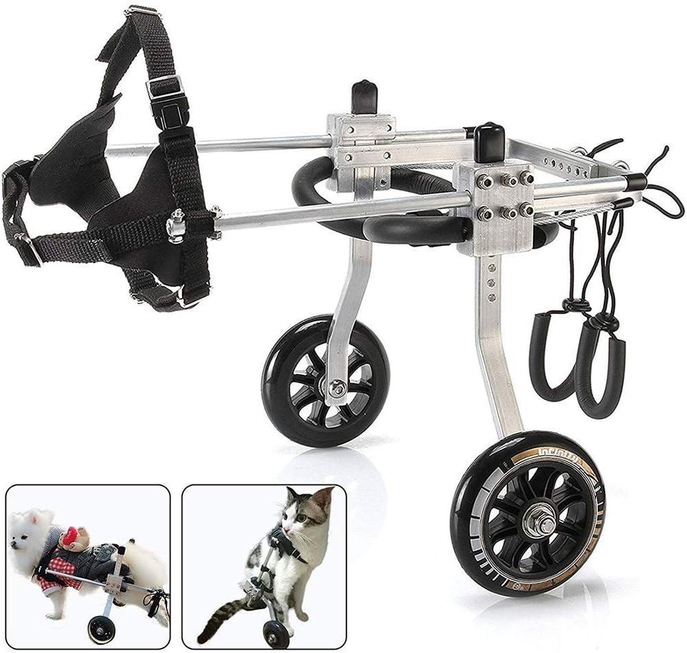 TWL-Wheelchair Silla de Ruedas de Rehabilitación para Mascotas Arnés de Movilidad para Las Piernas Traseras Acero Inoxidable Ajustable Asiento de Automóvil para Mascotas de 2 Rondas