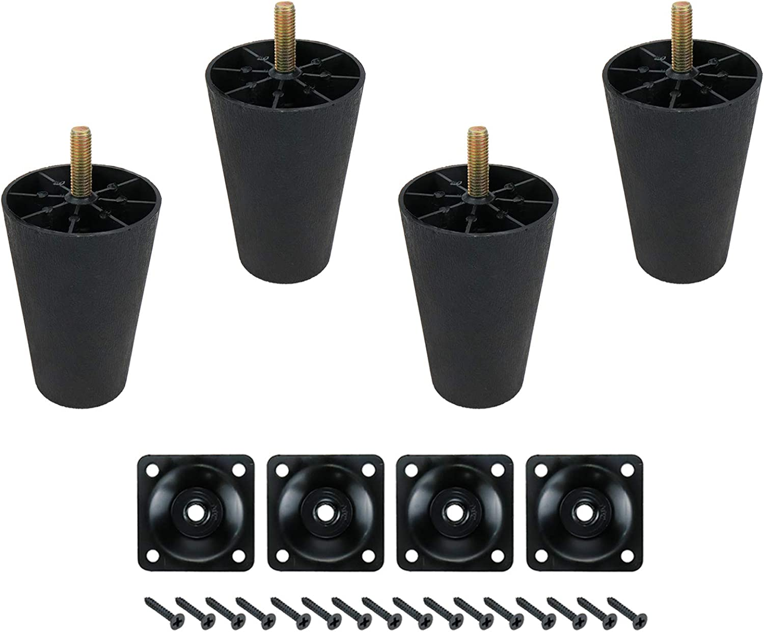 """FarBoat 4Pcs Tapered Sofa Couch Legs 3.5inch Height Plastic Furniture Legs 5/16"""" Bolt Replacement Round Mid-Century Modern for Chair Cabinet Feet Ottoman Coffee Table Chest with Plates Screws (Black)"""