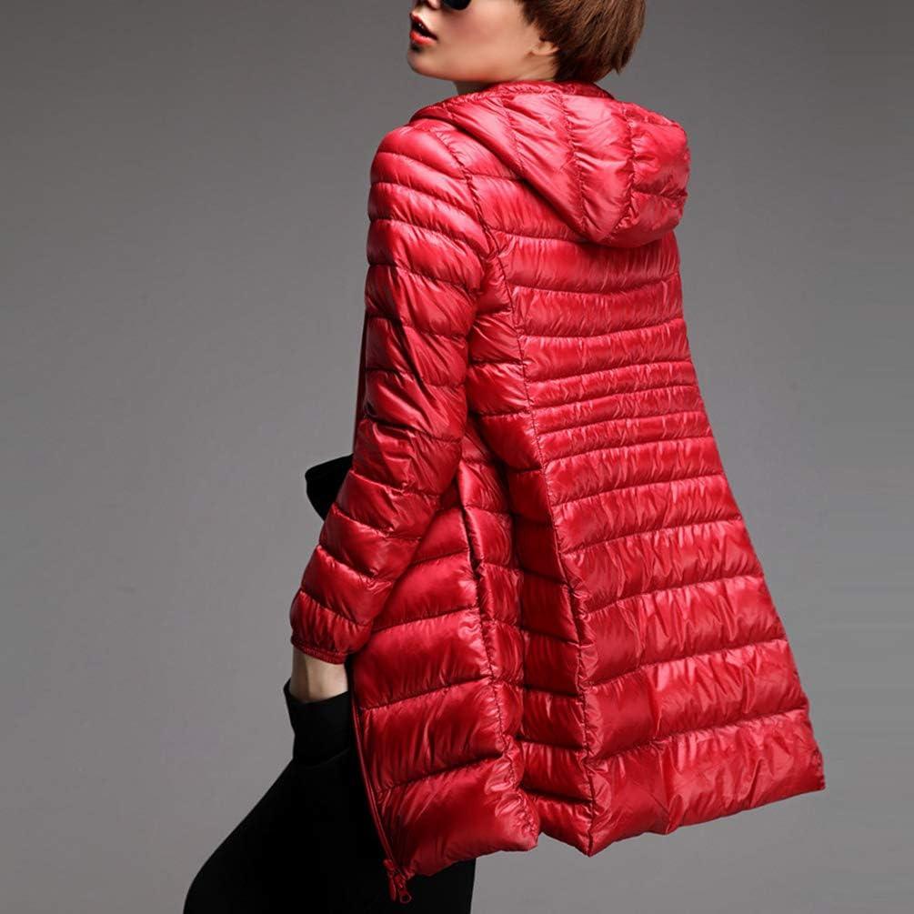 JEELINBORE Giacche Lunga Piumino Donna Ultraleggeri Cappotto Trapuntato Packable Giacca con Cappuccio