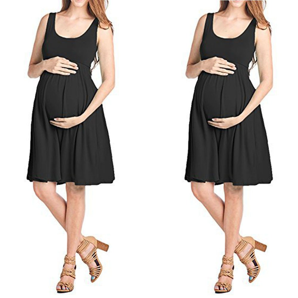 Women Dress, Fashion Womens Pregnants O-Neck Sleeveless Maternity Solid Vest Dress Black by Yooogery_Maternity dress (Image #4)