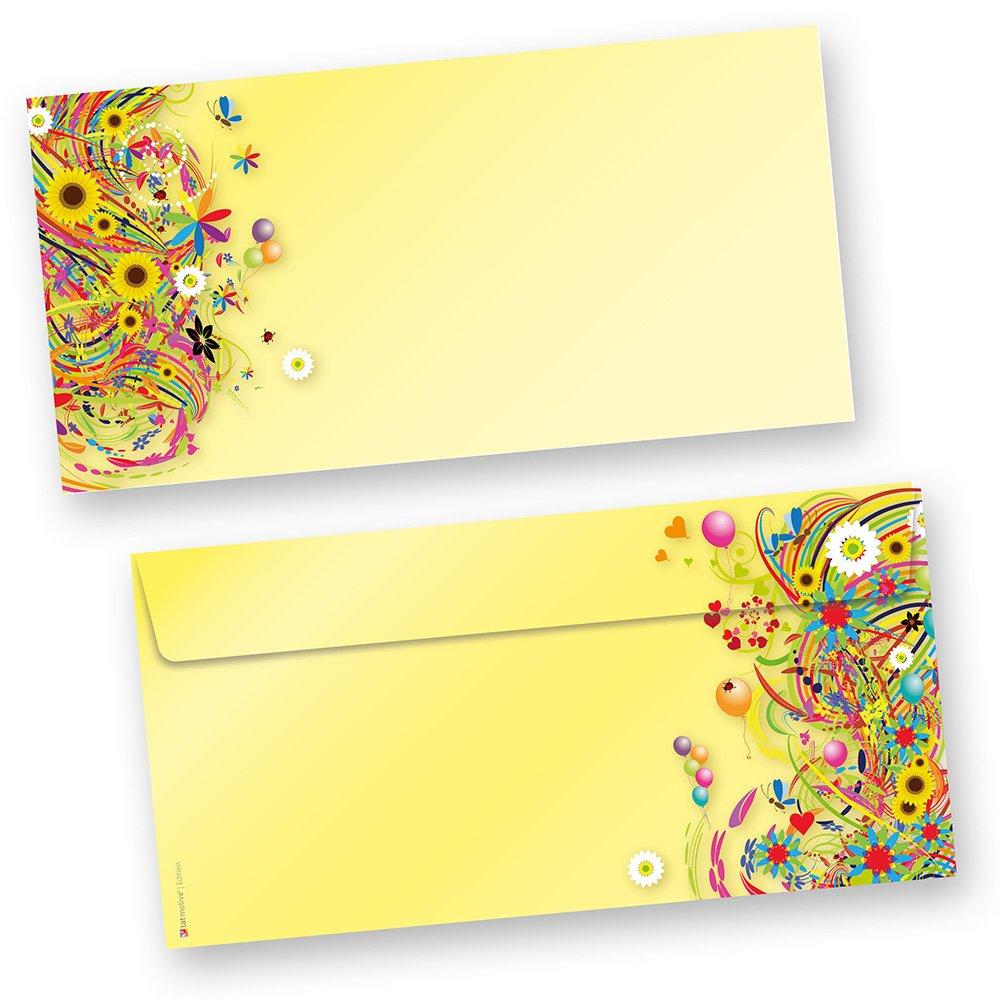 Edition flower power briefumschläge 50 stück das sind unsere edition briefumschläge blumen beidseitig bedruckt passendes briefpapier erhältlich