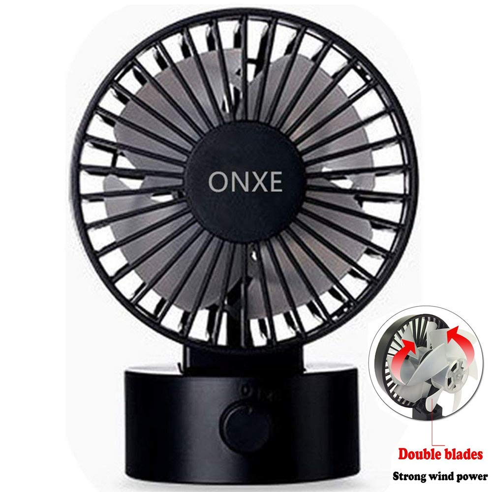 ONXE Quiet USB Desk Fan, Small Mini Table Desk Desktop Personal Fan Cooling for Room Office (2 Speed Modes Dual Blades Simulate Natural Wind, High Compatibility) - Black