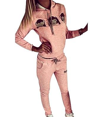 Ensemble Survetement Femme Ensemble Jogging Sport Femme Sweat Shirt à  Capuche Sweatshirt Survêtements Ensembles Hoodie Imprimé Sweat-Shirt à  Capuches Pull ... c3ecc5ec017