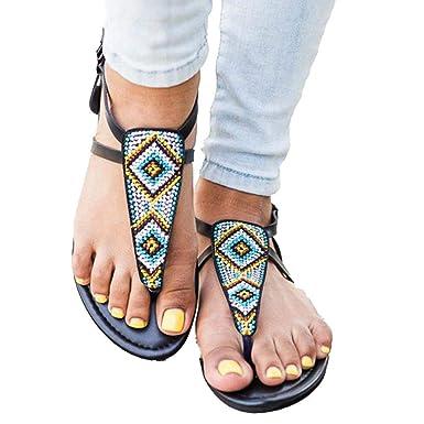 b86e7494f Women Bohemia Flat Sandals Summer Beach Glitter Beads with Buckle T-Strap  Flip-Flop