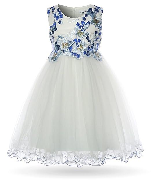 780116b7ca52 CIELARKO Vestito Ragazza Bambina Farfalla Cerimonia Elegante Smanicato  Principessa Abiti (2-3 Anni