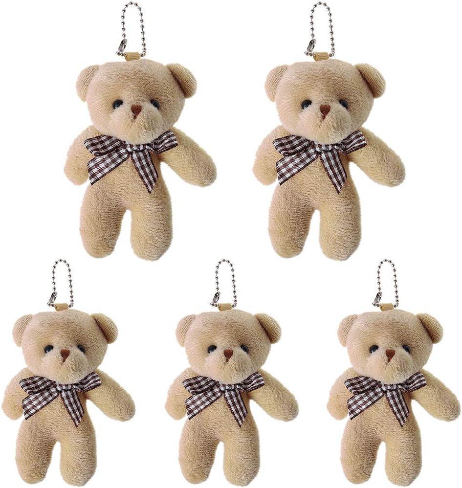 5 piezas de mini oso de peluche suave adornos colgantes muñeca, regalo de cumpleaños de San Valentín, marrón