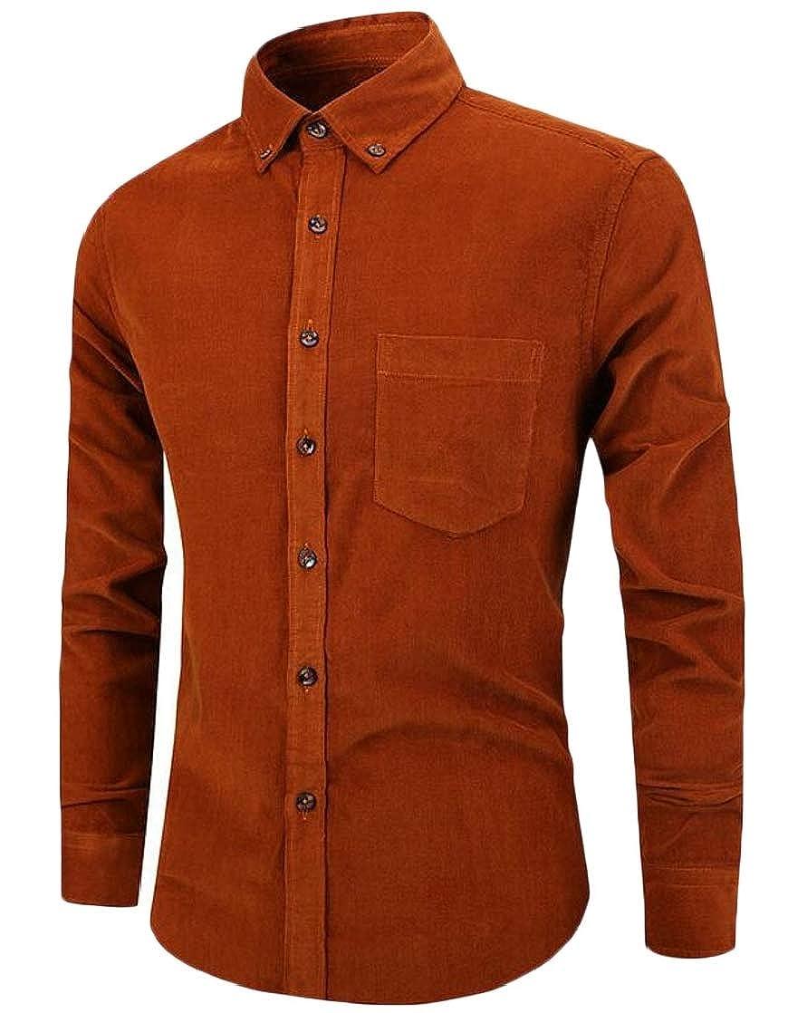 Etecredpow Men Corduroy Long Sleeve Stylish Lapel Neck Button Down Shirts