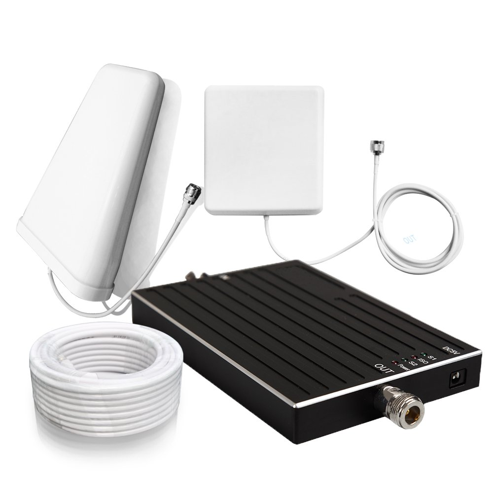 Sanqino 2G/3G/4G Cell Phone Signal Booster 850MHz/1700MHz Dual Band Signal Repeater For Home and Office-Ehance Your Signal and Gain 65dB . Can Cover up to 1076 sq ft. For Multiple Devices and Users