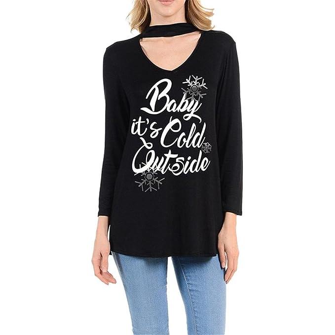Koly Mujeres Atractiva Navidad Impreso Casual Slim fit impresión Manga larga Camiseta Señoras Suelto Shirt Camisetas