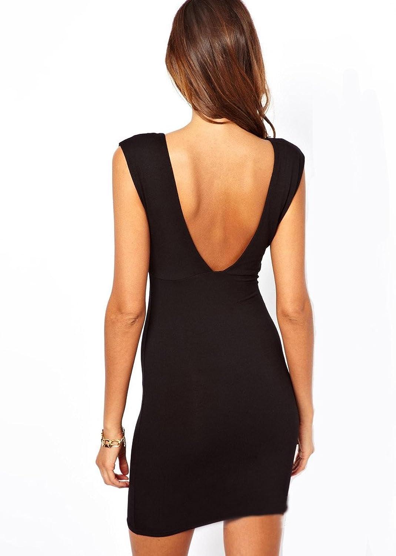 Purpura Erizo Womens Deep V-Neck Black Sleeveless Pencil Dress