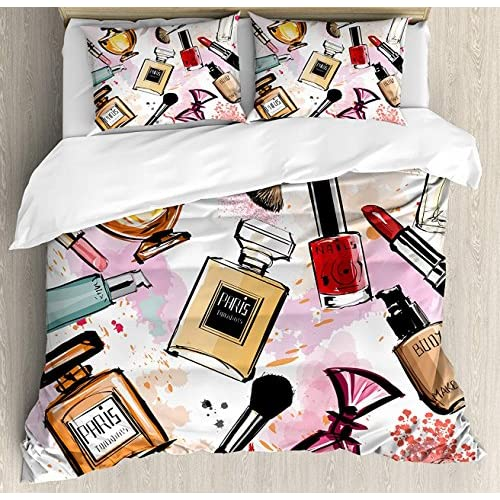 Cheap LAMANDA Twin Size Girls Luxury Soft Duvet Cover Set, Cosmetic and Makeup Theme Pattern with Perfume Lipstick Nail Polish Brush Modern Lady, 4 Piece Bedding Set with Pillow Shams, Multicolor for sale