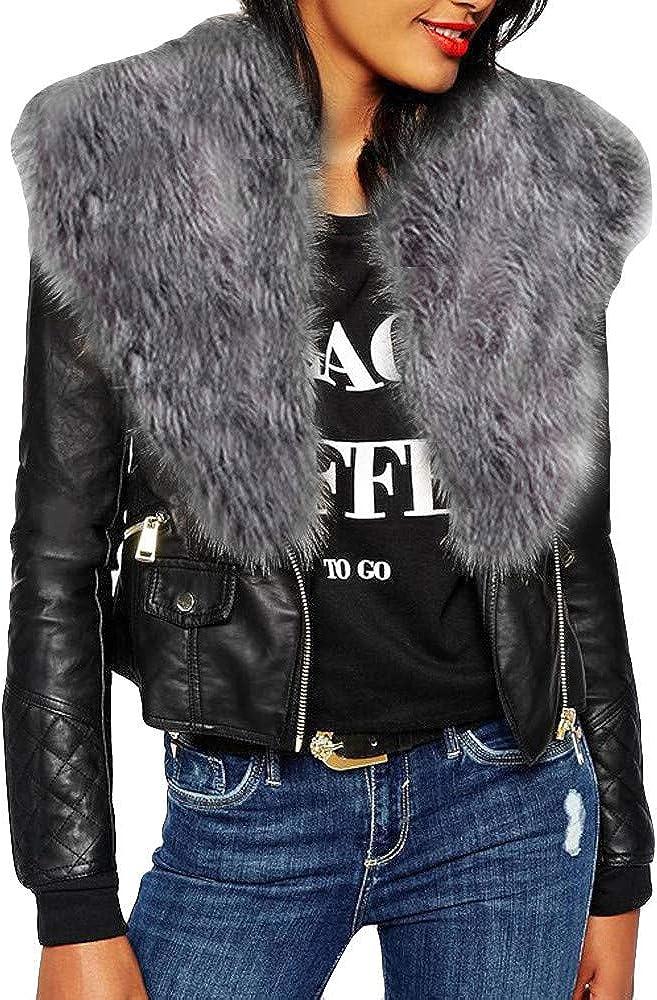 iLUGU Womens Fashion Jacket Long Sleeve V-Neck Artificial Fur Size Solid Zipper Pockets Coat