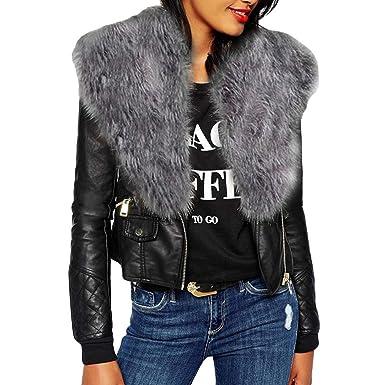 CLOOM Damen Mantel Kurzer Leder Jacke Große Größe Einfarbig Langarm Slim  fit Kunstpelz Jacke Pelzkragen Lederjacke 76a2cd6543