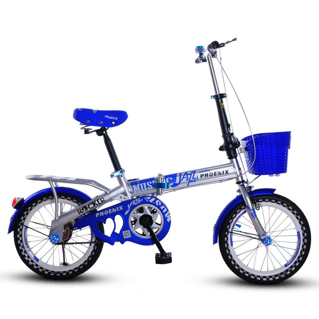 子供の折りたたみ自転車16インチの男の子と女の子の自転車6-10歳の女の子サイクリングピンク ( Color : Blue Grey ) B07DVBL7KZ