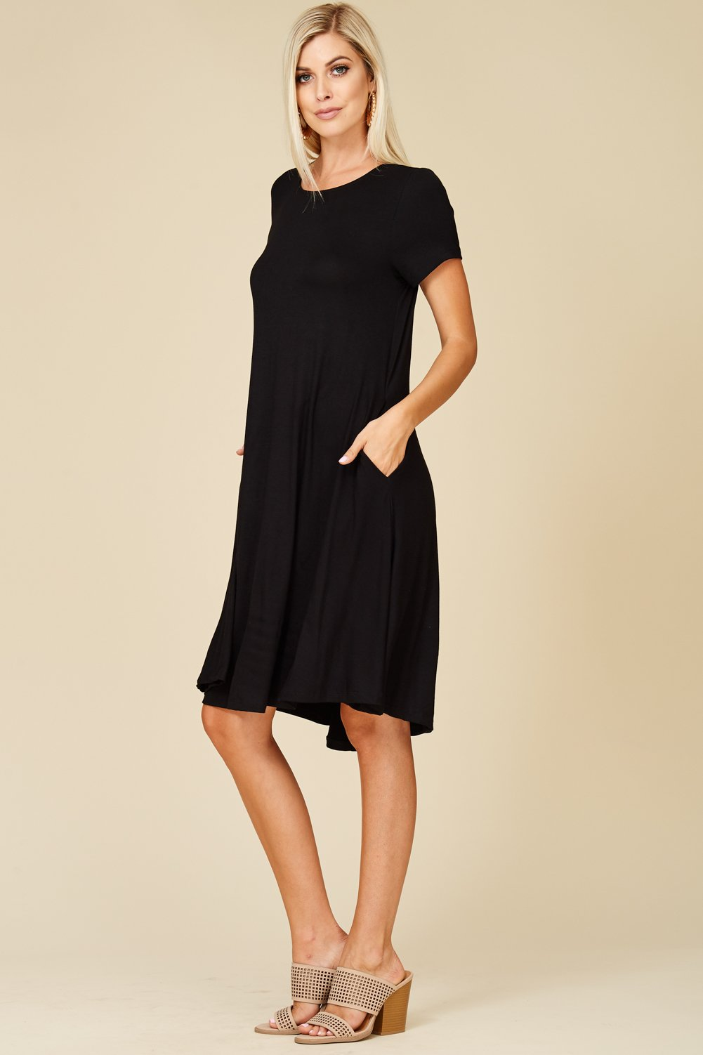 Annabelle Women's Comfy Short Sleeve Scoop Neck Swing Dresses with Pockets 3X-Large Black D5213X by Annabelle (Image #2)
