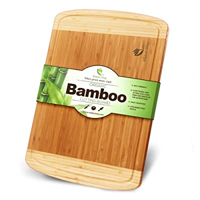 Small Bamboo Wood Cutting Board With Juice Grooves Best For Chopping Bread, Meat, and Cheese
