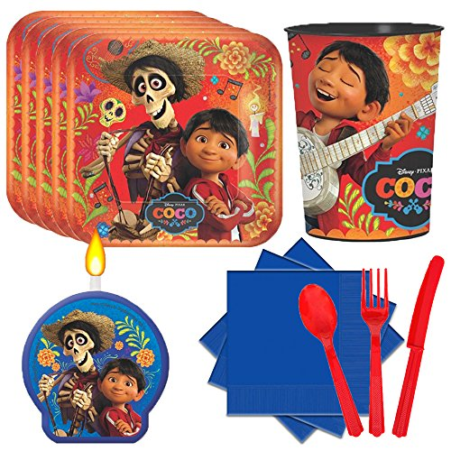 Disney Pixar Coco Party Supplies Party Pack for 16 guests (Plates, Favor Cups, Napkins, Full Red Cutlery Sets, Coco Candle)