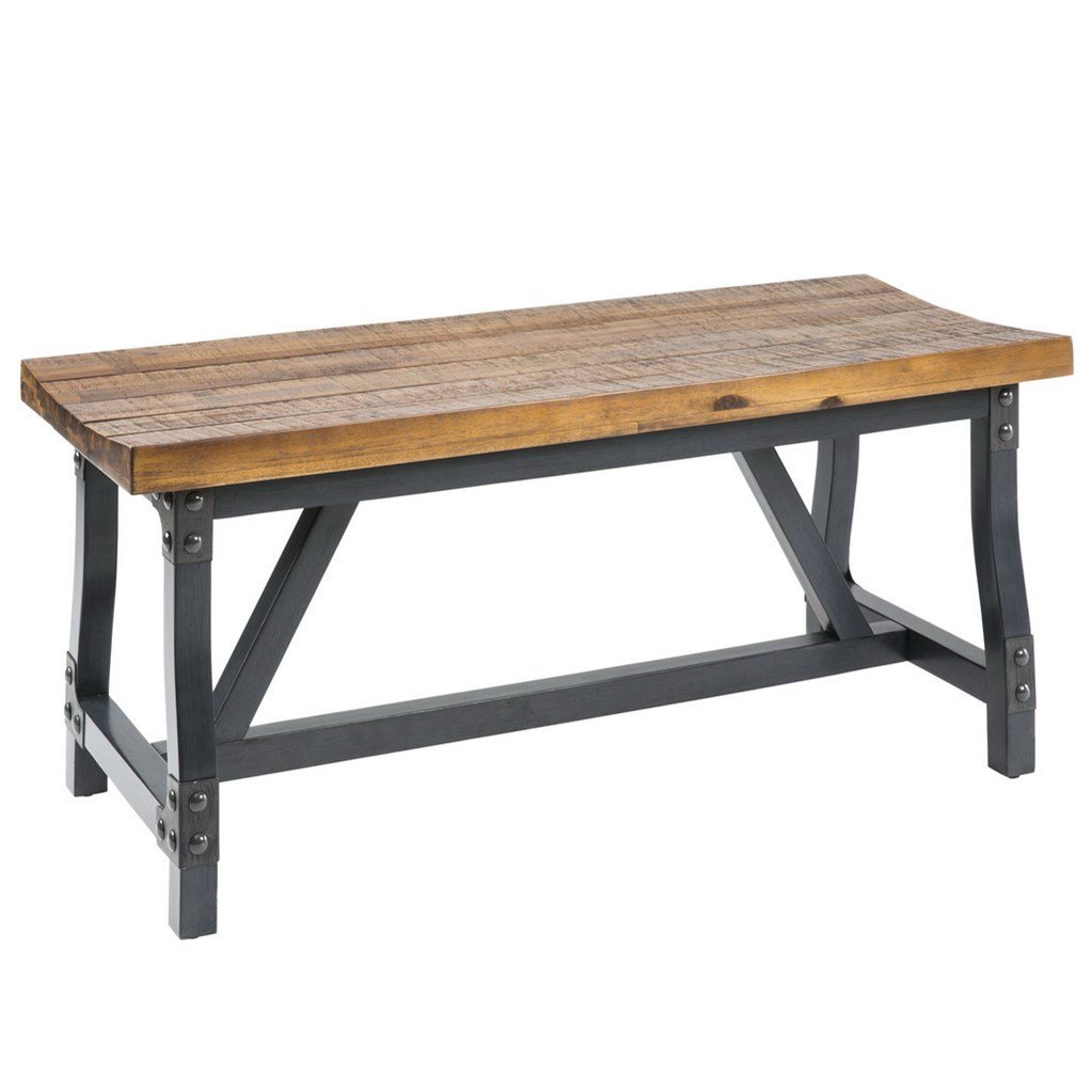 Amazon com modhaus living industrial rustic acacia wood and metal 44 inch accent dining bench includes pen table benches