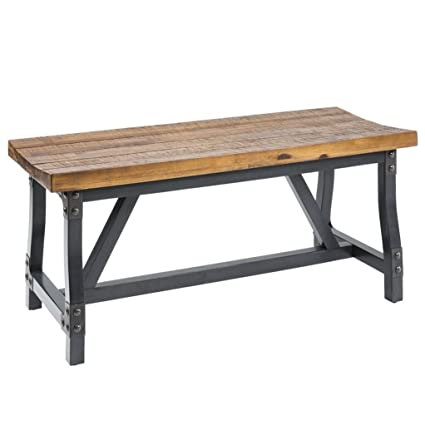 Industrial Rustic Acacia Wood And Metal 44 Inch Accent Dining Bench    Includes Modhaus Living Pen