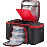 BeFit Quality Black Meal Prep Bag - Insulated Lunch Box Cooler with 3 Portion Control Food Containers and 2 Gel Ice Packs For Workplace, Gym and Picnics - Healthy Eating for Men & Women!