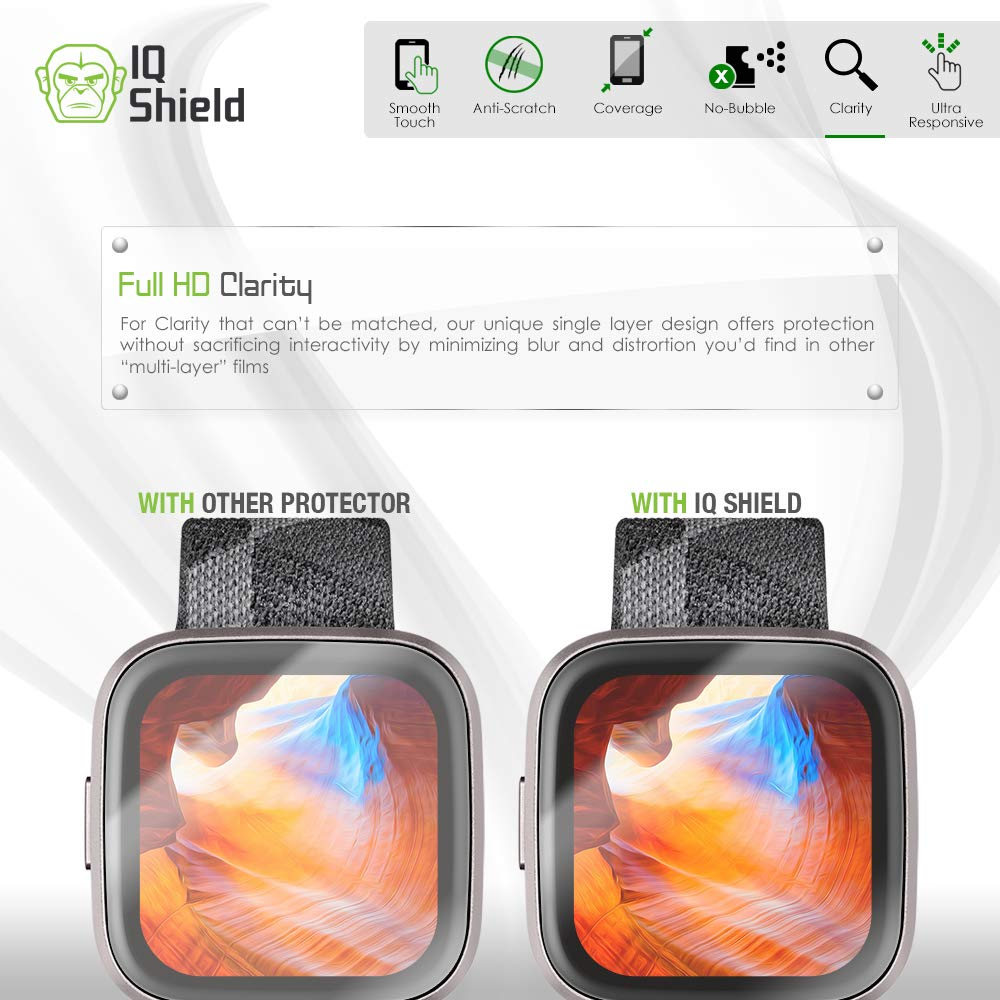 Anti-Bubble Clear Film 6-Pack IQ Shield Screen Protector Compatible with Fitbit Versa 2