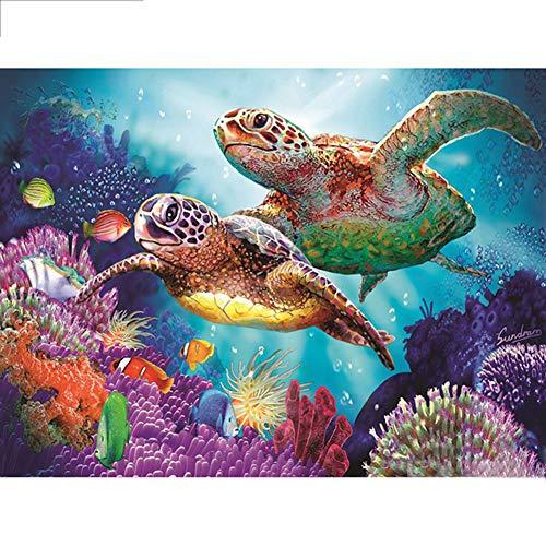 Meshieyla 5D DIY Diamond Painting by Number Kits, Round Rhinestone Wall Sticker Diamond Arts, Crafts (Turtle, 15.8