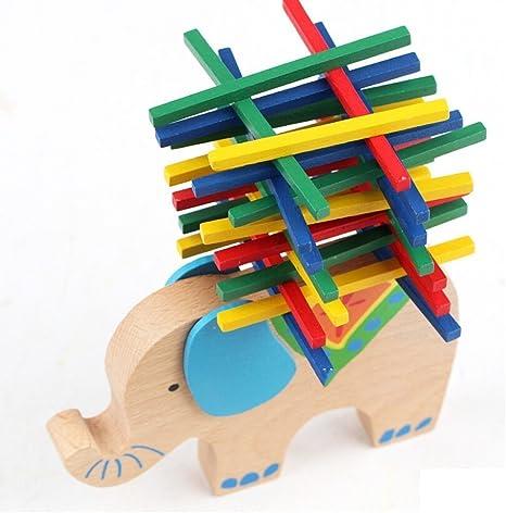 hosaire 1 x niños bebé elefante de balance de madera juego de puzzle de juguetes Balance Beam Jenga construir Stack: Amazon.es: Bebé