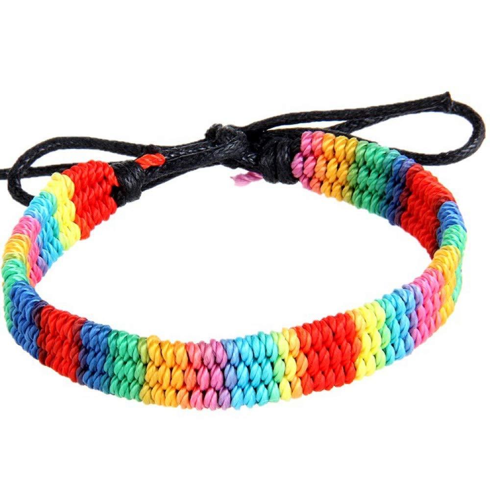 41520ceda292 GSYDSZ Brazalete Trenzado Cadena Arco Iris de Colores Gay