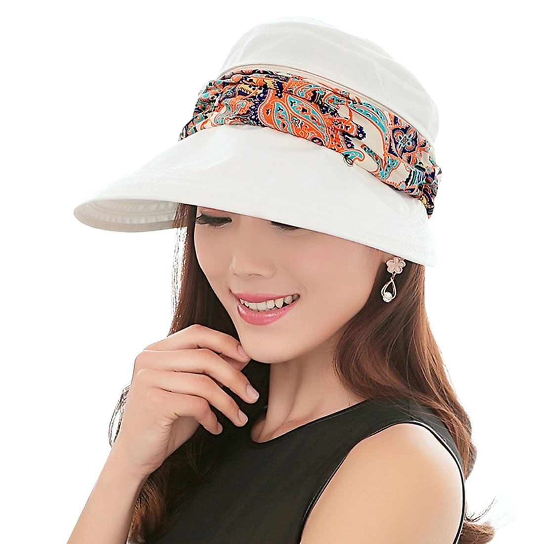 Women Floppy Wide Brim Hats UPF 50+ Beach Sun Hat with Removable Neck Face Cover